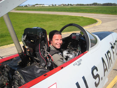 Fighter jet training in a T-33